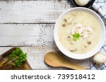 mushroom cream soup on white... | Shutterstock . vector #739518412