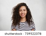 indoor shot of happy beautiful... | Shutterstock . vector #739522378
