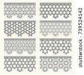 set of black seamless borders ... | Shutterstock .eps vector #739524142