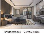 3d rendering brown luxury... | Shutterstock . vector #739524508