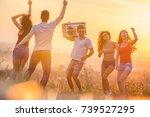 the five happy friends dancing... | Shutterstock . vector #739527295