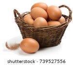 Brown Chicken Eggs In A Basket...