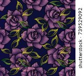 embroidery roses seamless...   Shutterstock .eps vector #739529092