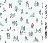 seamless pattern of tiny... | Shutterstock .eps vector #739530922