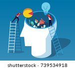 throw data and ideas into the... | Shutterstock .eps vector #739534918