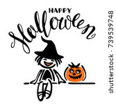 halloween poster or greeting... | Shutterstock .eps vector #739539748