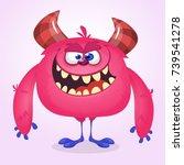 happy cool cartoon fat monster. ... | Shutterstock .eps vector #739541278