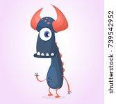 cute happy cartoon black... | Shutterstock .eps vector #739542952