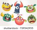cartoon monsters set for... | Shutterstock .eps vector #739542955