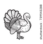 thanksgiving day turkey sketch... | Shutterstock .eps vector #739543288