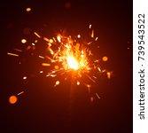 christmas sparkler in haze with ... | Shutterstock . vector #739543522