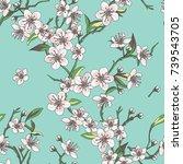 sakura cherry blossom seamless...   Shutterstock .eps vector #739543705