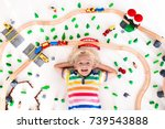 kids play with toy train... | Shutterstock . vector #739543888