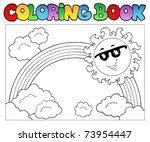 coloring book with sun and... | Shutterstock .eps vector #73954447