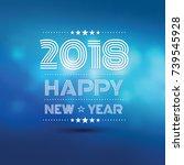 happy new year 2018 in blue... | Shutterstock .eps vector #739545928