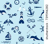 seamless pattern with sailing ... | Shutterstock .eps vector #739546282