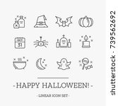 halloween outline vector icon... | Shutterstock .eps vector #739562692