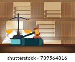 law books with a judge's gavel... | Shutterstock .eps vector #739564816