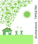 the background of green eco... | Shutterstock .eps vector #73956784