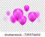 realistic pink balloon. three...   Shutterstock .eps vector #739576642
