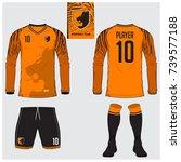 long sleeve soccer jersey or... | Shutterstock .eps vector #739577188