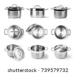 open stainless steel cooking... | Shutterstock . vector #739579732