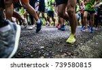 starting running feet of runners | Shutterstock . vector #739580815