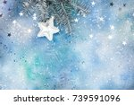 silver christmas tree branch... | Shutterstock . vector #739591096
