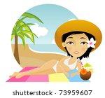 beautiful girl lies on a towel... | Shutterstock .eps vector #73959607