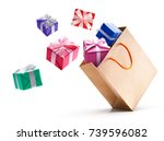 gift boxes pop out from paper... | Shutterstock . vector #739596082