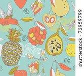 tropic fruits and bird seamless ... | Shutterstock .eps vector #73959799