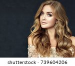 brunette  girl with long  and   ... | Shutterstock . vector #739604206