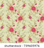 seamless vector floral pattern... | Shutterstock .eps vector #739605976