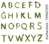christmas alphabet with... | Shutterstock .eps vector #739607395