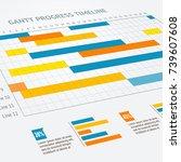 gantt progress line business...   Shutterstock .eps vector #739607608