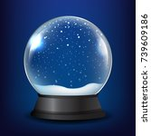 winter snow globe with blue... | Shutterstock .eps vector #739609186