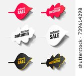 paper autumn leaves. tags ...   Shutterstock .eps vector #739614298