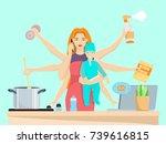 vector illustration of busy... | Shutterstock .eps vector #739616815