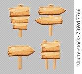 vector cartoon wooden blanks... | Shutterstock .eps vector #739617766