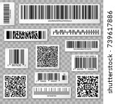 qr codes  bar and packaging... | Shutterstock .eps vector #739617886