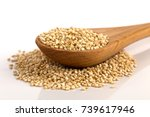 pile of grain quinoa seeds in... | Shutterstock . vector #739617946
