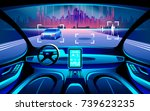 Autinomous smart car inerior. Self driving at night city landscape. Display shows information about the vehicle is moving, GPS, travel time, scan distance Assistance app. Future concept - stock vector