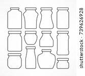 set of figured glass jars for... | Shutterstock .eps vector #739626928