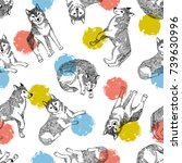 seamless pattern with cute... | Shutterstock .eps vector #739630996