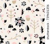 fruit forest seamless pattern.... | Shutterstock .eps vector #739631356