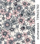 seamless floral pattern with... | Shutterstock .eps vector #739631782