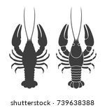 crayfish silhouette. isolated... | Shutterstock .eps vector #739638388