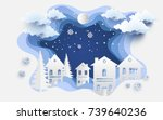 scenery in the winter with... | Shutterstock .eps vector #739640236