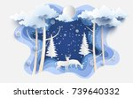 scenery in the winter with... | Shutterstock .eps vector #739640332