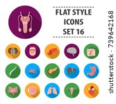 organs set icons in flat style. ... | Shutterstock . vector #739642168